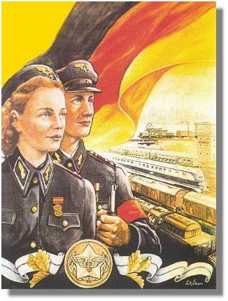 Werbeplakat-10 Jahre Eisenbahn in Arbeiter- und Bauernhand